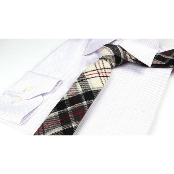 Plaid Wool Tie White in het
