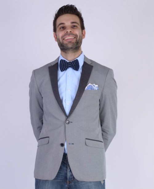 Knitted Bow Tie Blue