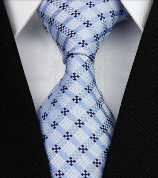 Tie Light Blue with squares
