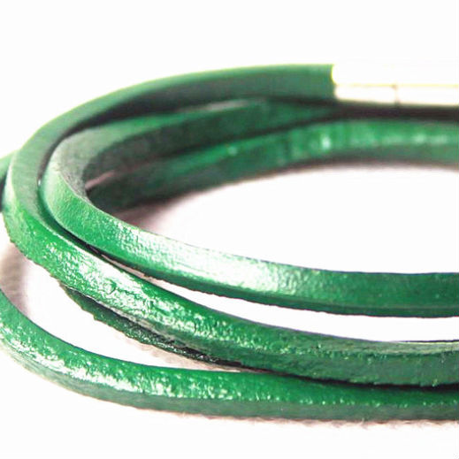 Men's bracelet green leather
