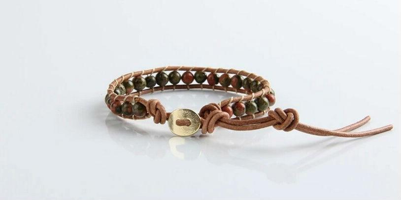 heren armband met groen agaat