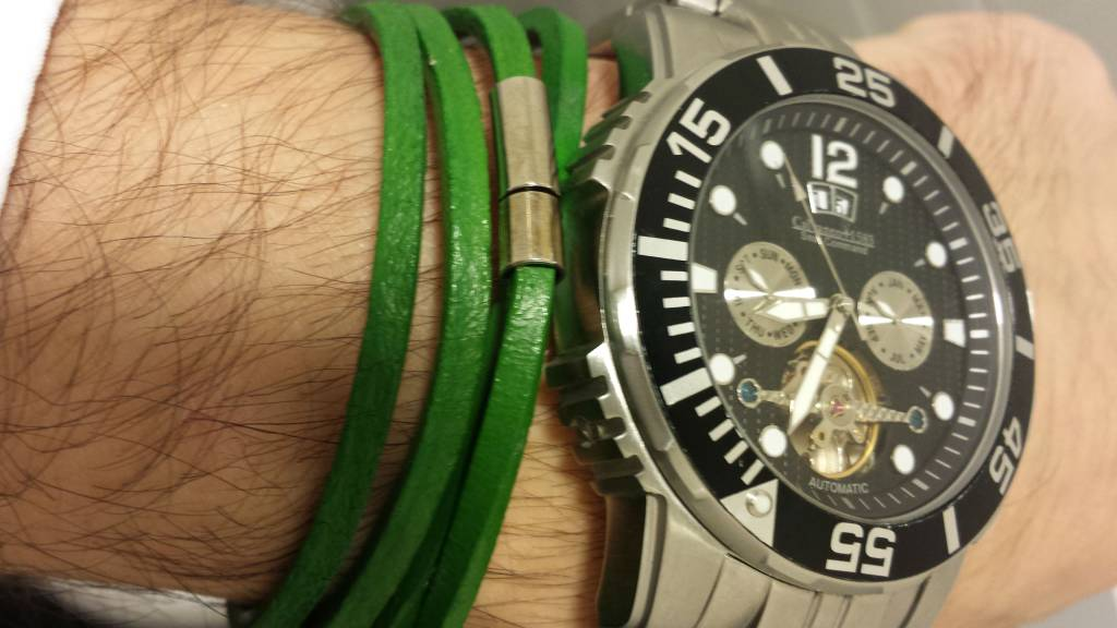 Leather Wrap Bracelet Green