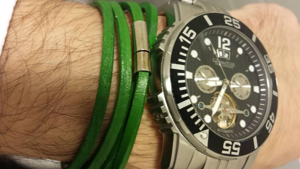 Leren Wrap Armband Groen