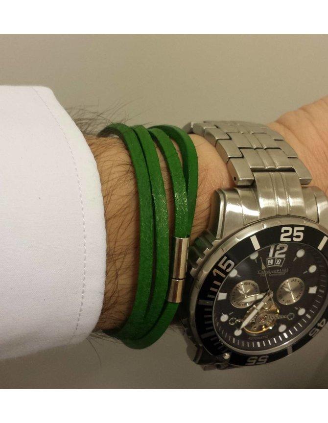 Leren Wrap Armband Groen kopen