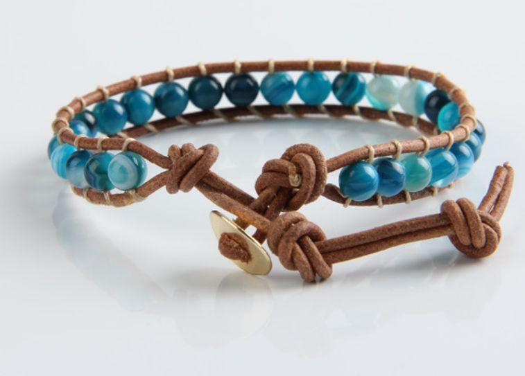 Leren Wrap Armband Blauw Agaat - Man