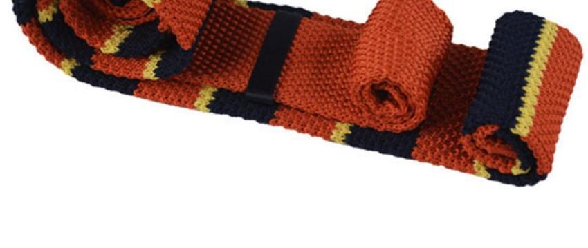 Gebreide Stropdas Oranje met strepen