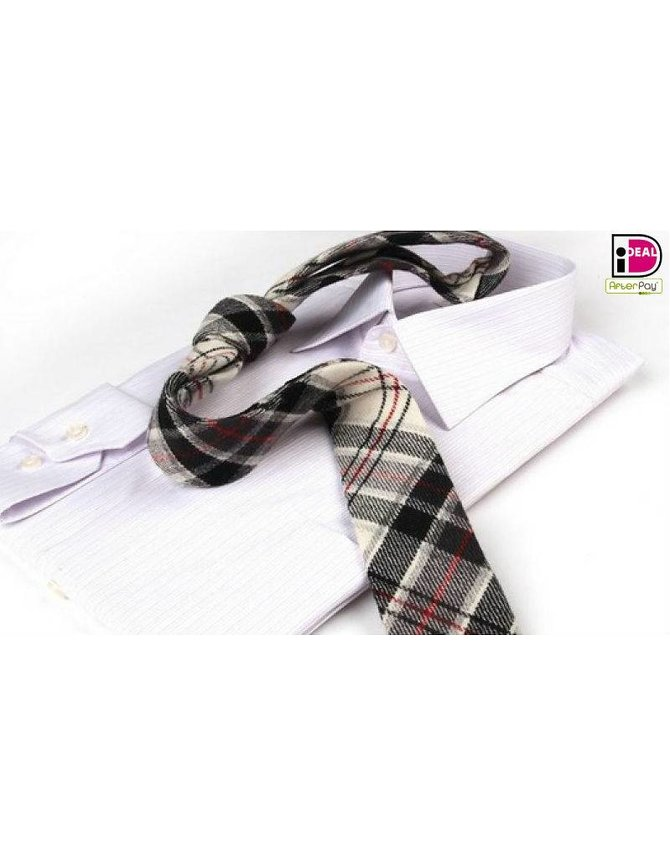 Plaid Wool Tie Wit kopen