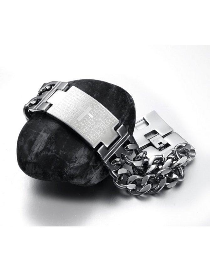 Stainless Steel Chain Link Cross Heren Arm Band kopen