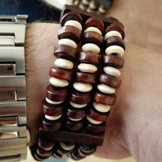 Brede houten armband mannen