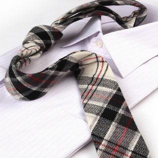 lichte wollen geruite stropdas