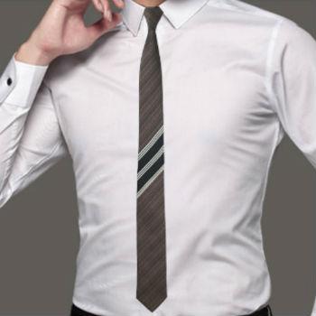 zijden stropdas bruin met strepen