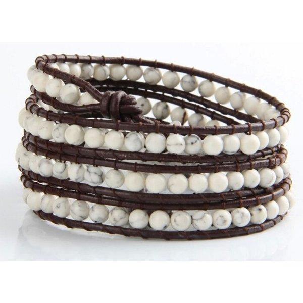 Wrap bracelet white Turquoise in het