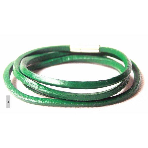 Leather Wrap Bracelet Green in het