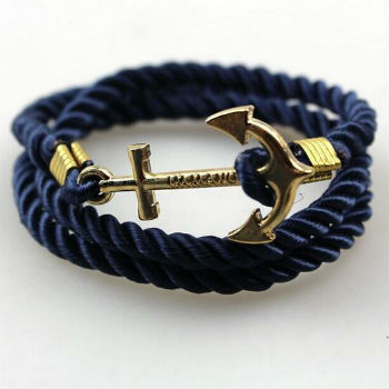 anker armband blauw satijn