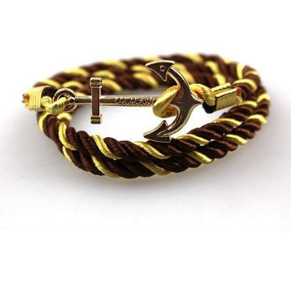 Zachte satijnen anker armband - Goud Bruin in het