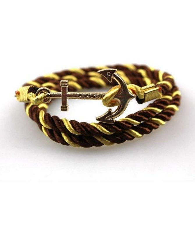 Zachte satijnen anker armband - Goud Bruin kopen