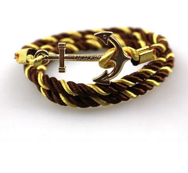 Soft Satin Anchor Bracelet - Gold Brown