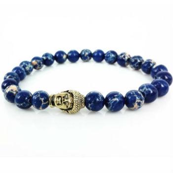Buddha heren Armbanden kopen Blauw Agaat