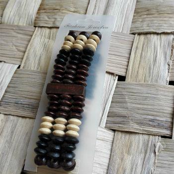 Brede houten armband met kralen