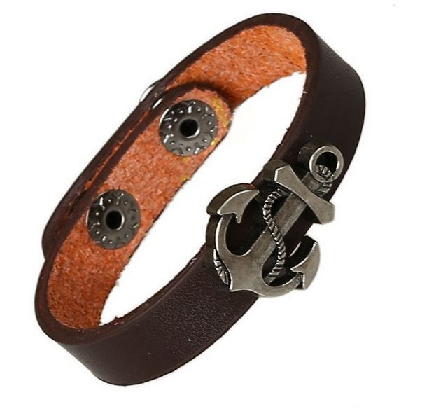 Herenarmband met metalen anker