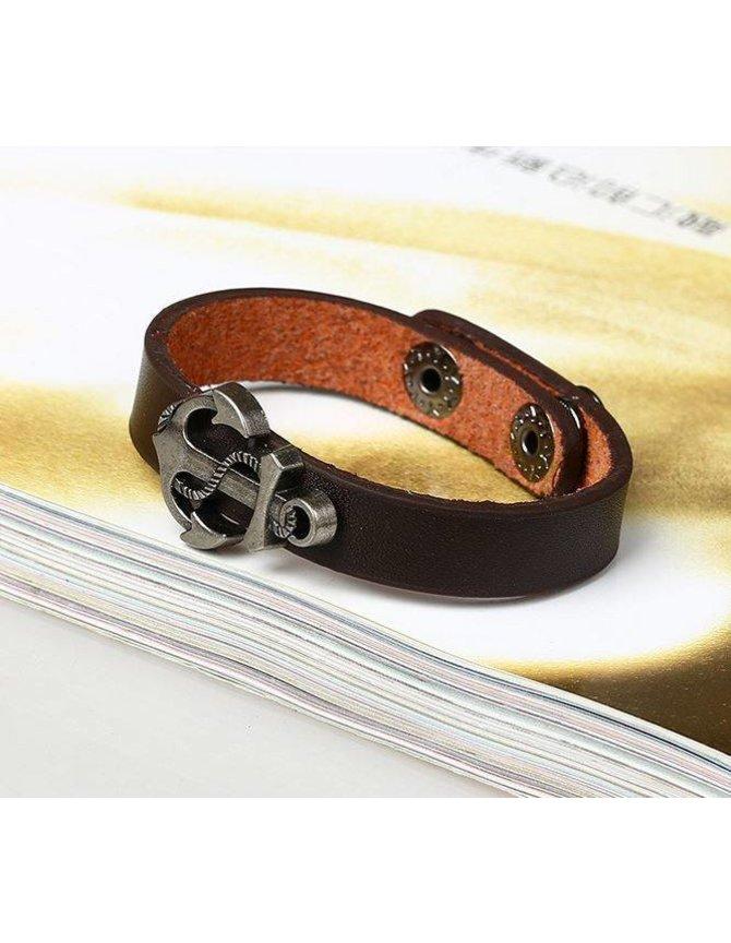 Men's Bracelet leather with metal anchor kopen
