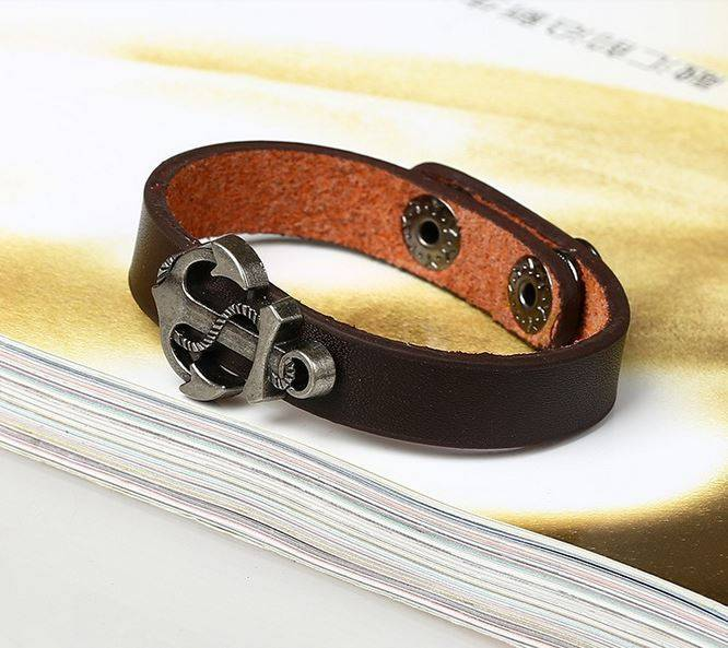 Men's Bracelet leather with metal anchor