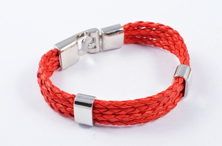 Leather Men's Bracelet Red