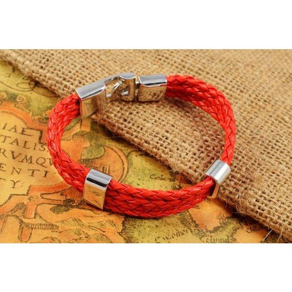Leather Men's Bracelet Red in het
