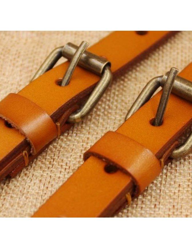 100% leren Bretels - luxe - Geel Bruin kopen