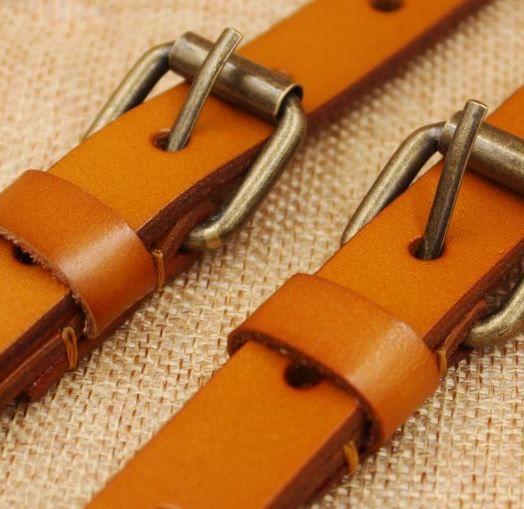 100% leren Bretels - luxe - Geel Bruin