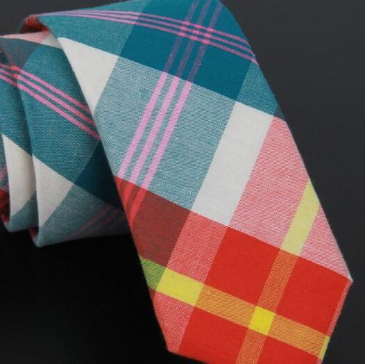 Red and Blue plaid cotton tie