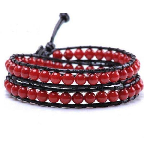 Handgemaakte Leren wrap armband Rood Agaat in het