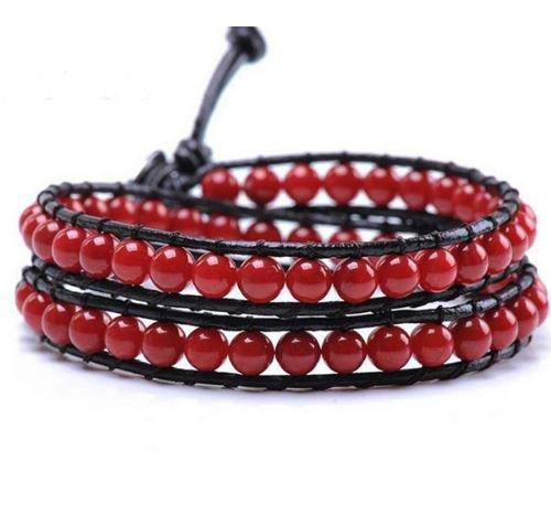 Handgemaakte Leren wrap armband Rood Agaat