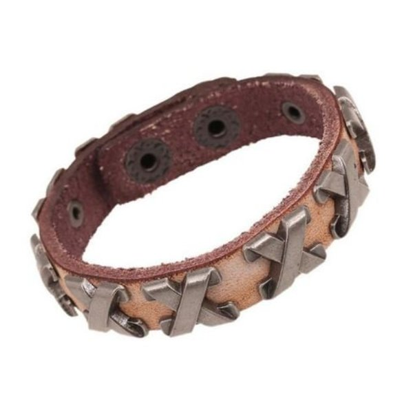 Lederen Armband met metalen Cross