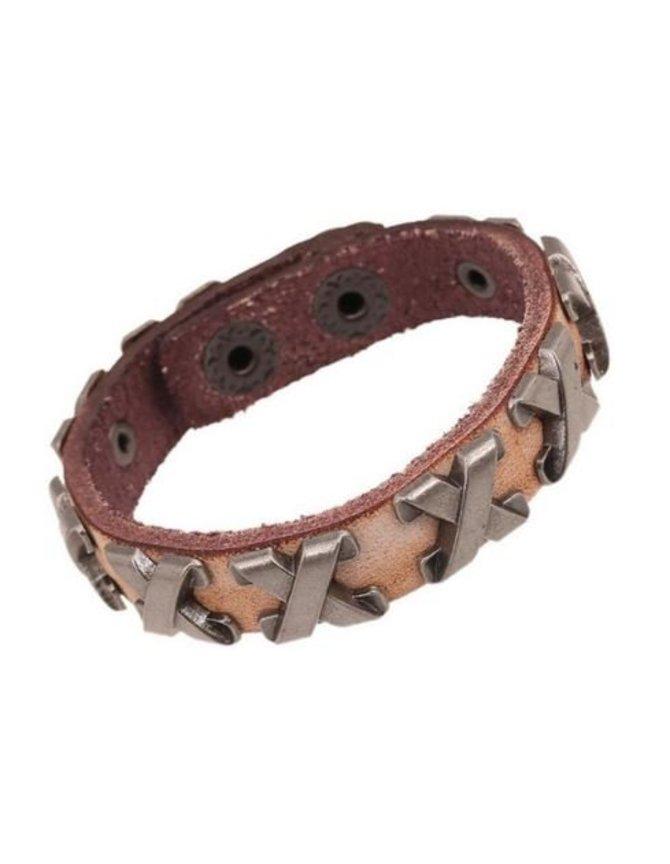 Leather Bracelet with metal Cross kopen