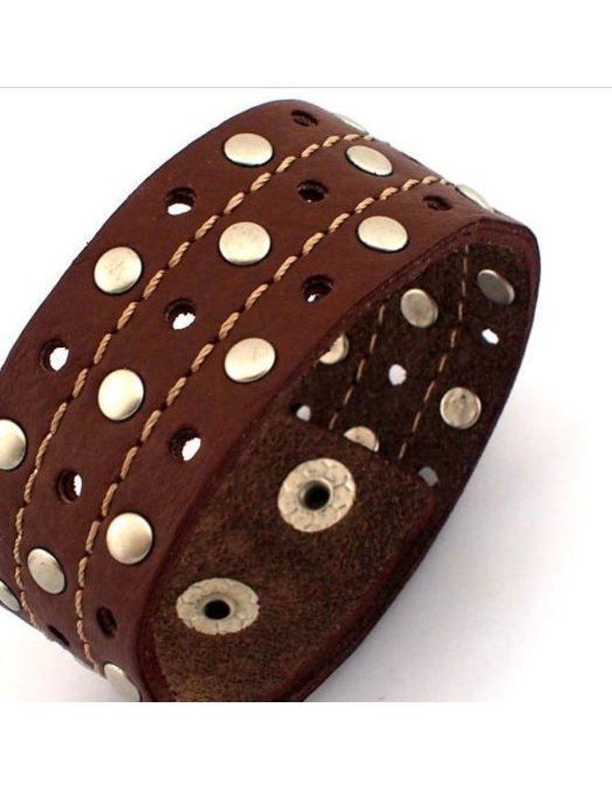Brede Leren Heren Armband kopen