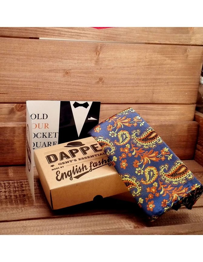 Blue and gold paisley pocket square kopen
