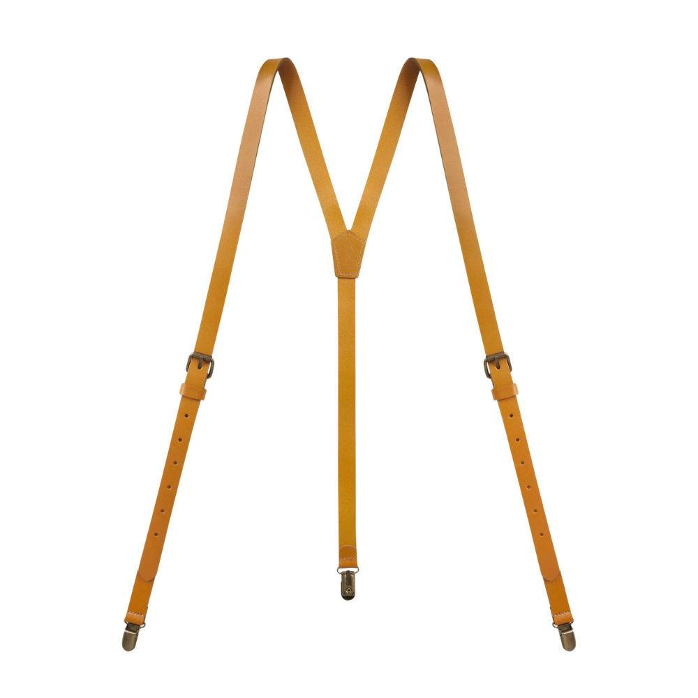 Real Leather Suspenders Yellow Brown