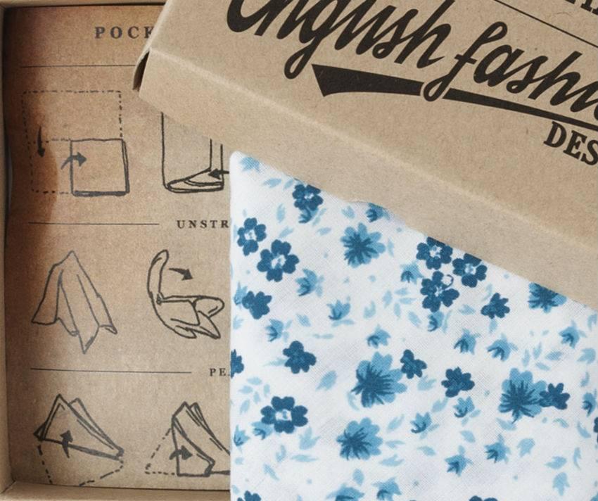 Cotton Pocket Squares - Floral blue
