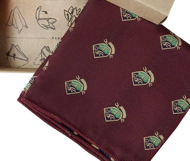Red Satin Pocket Square - Emblem