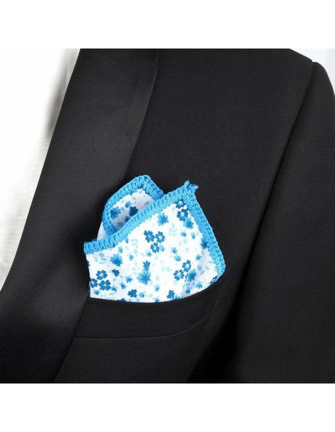 Cotton Pocket Squares - Floral blue kopen