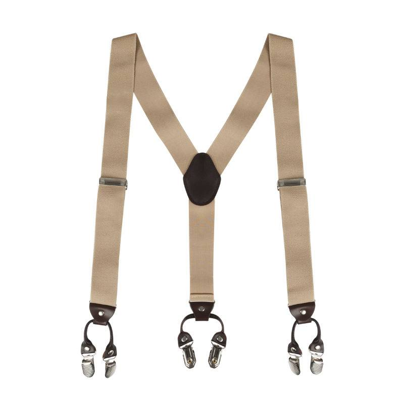 Suspenders Beige with Leather: 6-clips