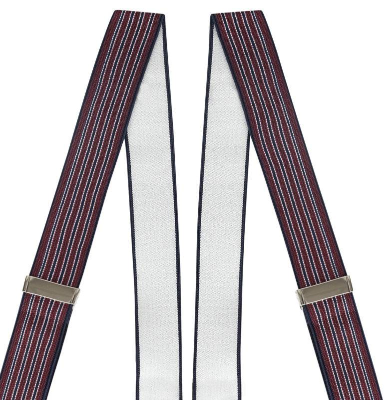 Elastic Suspenders Striped 6-clips black wit white