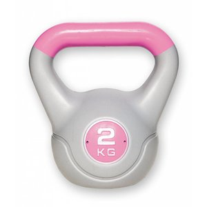 Kunststof aerobic kettlebell 2 kg roze