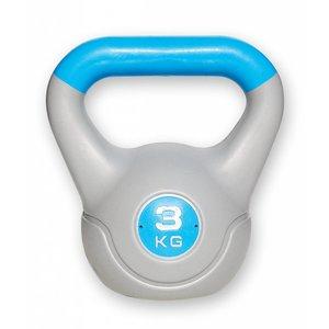 Kunststof aerobic kettlebell 3 kg blauw