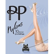 "Pretty Polly 10D. ""Nylons"" gloss Hold Ups with Lace Top"