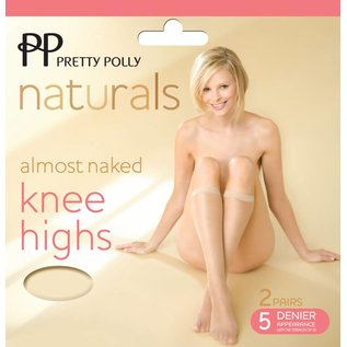 Pretty Polly 5D. Almost Naked sideria Kneehighs 2 pair