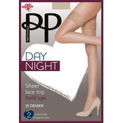 Pretty Polly 15D Sheer Lace Top Hold Ups 2 pair pack