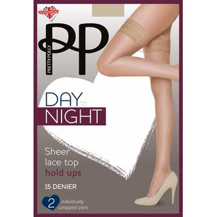 Pretty Polly 15D Sheer Lace Top Hold Ups 2 paar verpakking