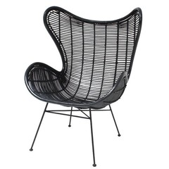 HKliving Egg chair Rotan Zwart